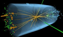 A representation of traces of a proton-proton collision in the search for the Higgs boson