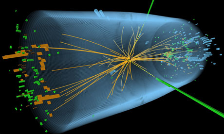 A representation of traces of a proton-proton collision in the search for the Higgs boson, released by the European Organisation for Nuclear Research (Cern). Photograph: AFP/Getty Images