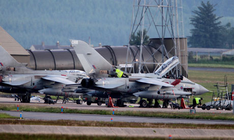 Air ground crew work on Tornado planes at RAF Lossiemouth