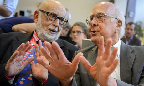 Higgs boson: British physicist Peter Higgs (right) speaks with Belgium physicist Francois Englert