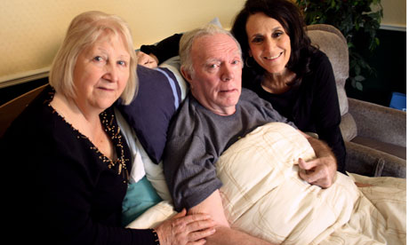 Lesley Joseph with her pensioner hosts, Pat and Malcolm in When I Get Older
