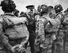 General Ike Eisenhower talking to US paratroopers on the eve of D-Day, 1944