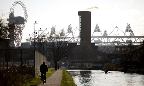 The Olympic Stadium viewed from the Lea Valley nature reserve.