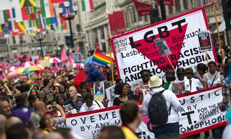 Gay and lesbian people march through London to celebrate WorldPride
