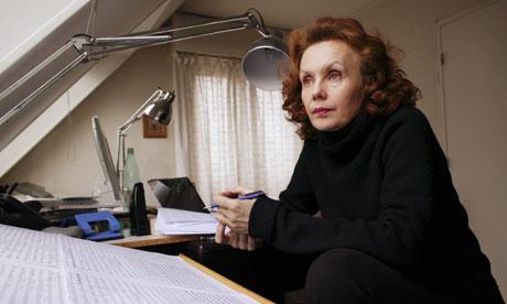 Composer Kaija Saariaho at home in Paris on 27 January 2004