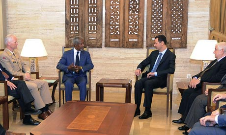 Bashar Assad, Kofi Anan, Walid Muallem, Robert Mood
