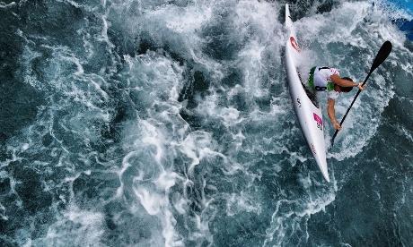 Switzerland's Mike Kurt paddles the Kayak Single K1 course