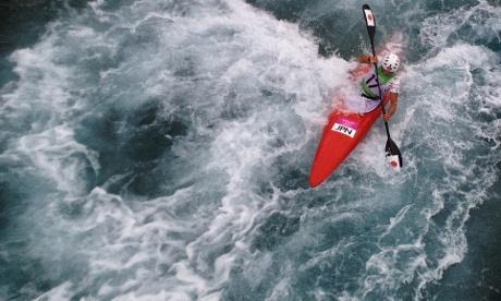 Japan's Kazuki Yazawa paddles the Kayak Single K1 course