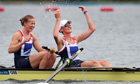 Helen Glover and Heather Stanning celebrate