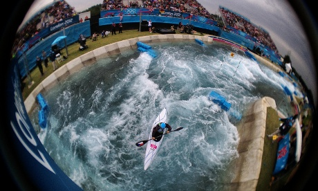 The Czech Republic's Vavrinec Hradilek paddles to Silver in the Mens's Kayak (K1) at the Lee Valley White Water Centre