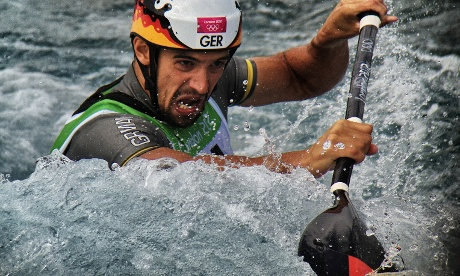 Germany Hannes Aigner paddles to Bronze in the Mens's Kayak (K1)