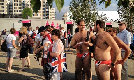 There were some rather cheeky fans dresses to impress around the Olympic park.
