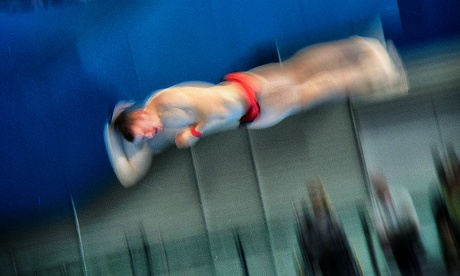 Germany's Martin Wolfram dives in the semi-final of the men's 10m platform