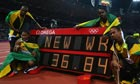 Usain Bolt, Yohan Blake, Michael Frater and Nesta Carter of Jamaica celebrate a new world record.