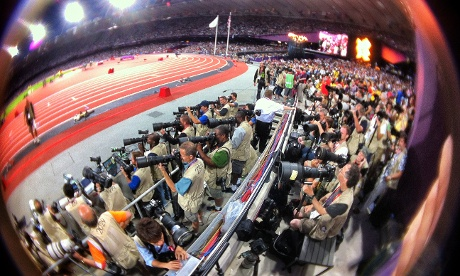 A fisheye view from my position in the photographers stand at the Olympic stadium tonight.