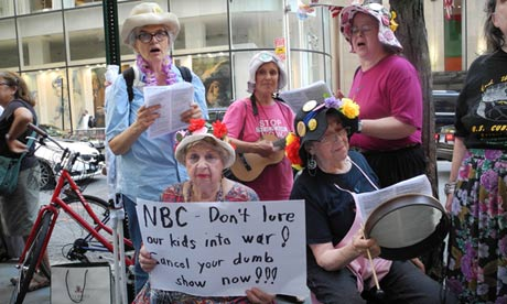The Nobel peace laureates said they supported a protest against Stars Earn Stripes outside NBC