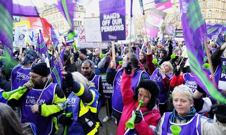 Public sector workers at a rally in Bradford during the November 30 strike over pension changes