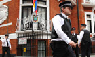 Police outside the Ecuadorian embassy in London after Julian Assange was granted political asylum