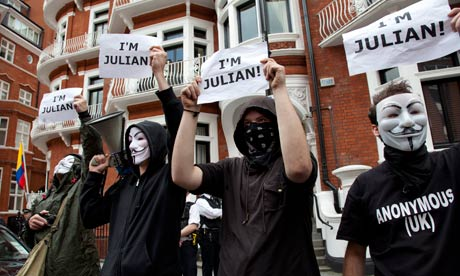 UK - London - Supporters of Julian Assange outside the Ecuador Embassy