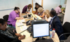 Staff at the University of West London answer phone queries about clearing