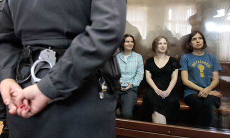 Three members of Pussy Riot were arrested in March after a guerrilla performance in Moscow's main cathedral. Photograph: Sergei Karpukhin/Reuters
