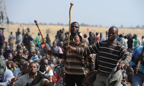 Striking South African miners, Marikana mine 18/8/12