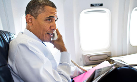 Barack Obama on the phone in Air Force One