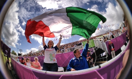 Italian supporters at the Women's individual archery