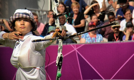 Korea's Ki Bo Bae shoots in the Women's individual archery