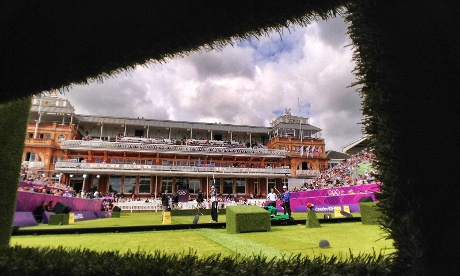 the view from inside one of the photographer's hides at the archery at Lord's