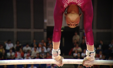 Team USA's Gabrielle Douglas on the way to winning gold in the Women's Individual All-Around artistic gymnastics