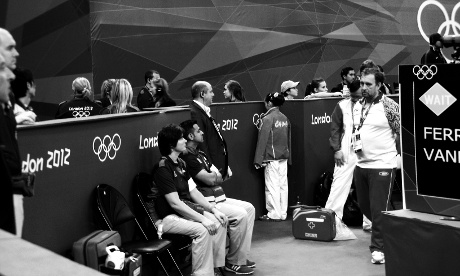 China's Deng Linlin stands in a corner