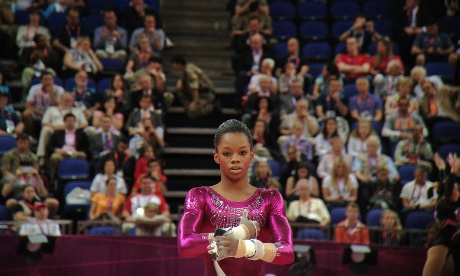 Team USA's Gabrielle Douglas about to take to the uneven bars
