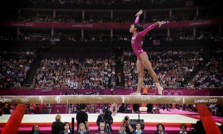 Team USA's Gabrielle Douglas on the beam