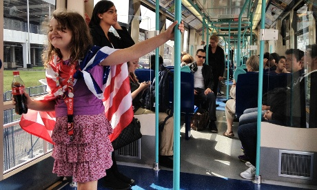 A young fan of Team USA travelling to the games