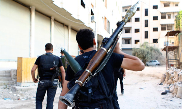 Free Syrian Army fighters in Saqba, Damascus