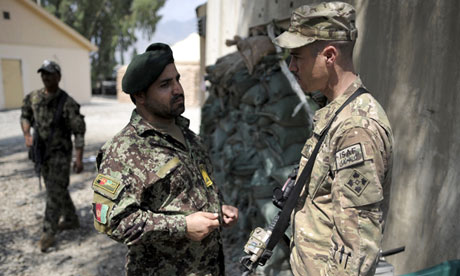 Afghan and US officers in Kunar province