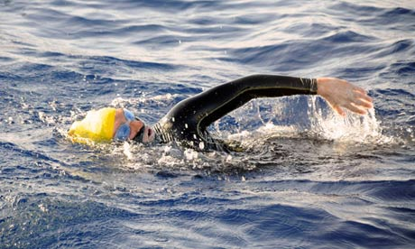 Diana Nyad swimming in the Florida Straits
