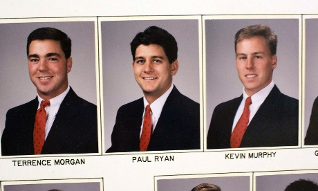Photographs of Rep. Paul Ryan (R-WI) from a composite picture is seen at the Delta Tau Delta house at Miami University in Oxford, August 15, 2012.
