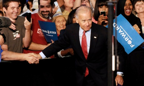 Vice President Joe Biden arrives to address a grassroots rally, Tuesday, Aug. 21, 2012, in Minneapolis. (AP Photo/Jim Mone)