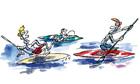 Tim Dowling illustration, paddle boarding