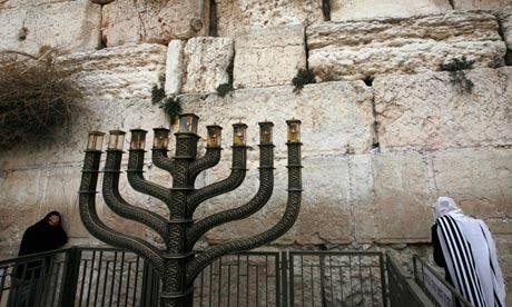A Hanukkah menorah at the Western Wall, Judaism's holiest prayer site, in Jerusalem's Old City