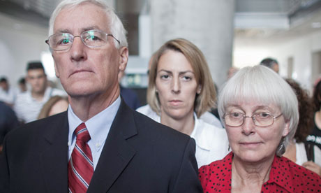 Rachel Corrie's family: father Craig, mother Cindy and sister Sarah Corrie Simpson