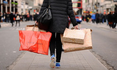 High street shopper with bags
