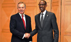 Tony Blair and Rwandan President Paul Kagame