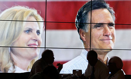 Mitt Romney and Ann on convention TV