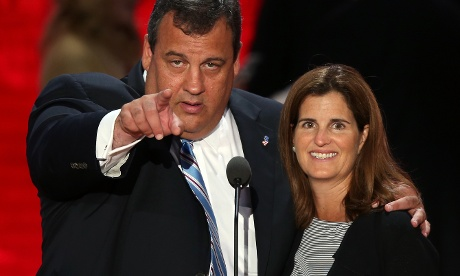 New Jersey Governor Chris Christie on stage for a soundcheck before his keynote address at the Republican National Convention, with his wife Mary Pat Christie.