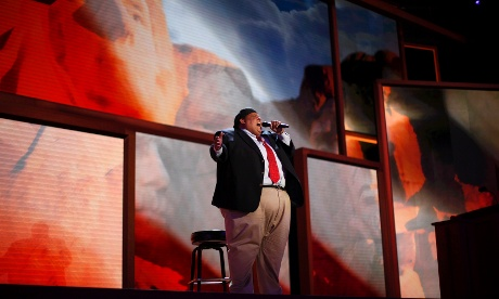 Opera singer Neal E. Boyd performs during Tuesday's session of the RNC in Tampa