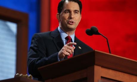Wisconsin Governor Scott Walker speaks to the RNC in Tampa on Tuesday.
