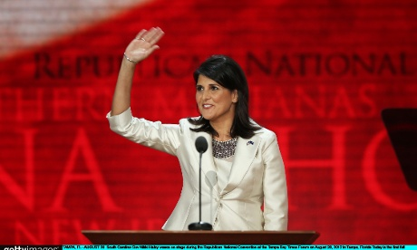 South Carolina Governor Nikki Haley waves to the RNC crowd in Tampa.